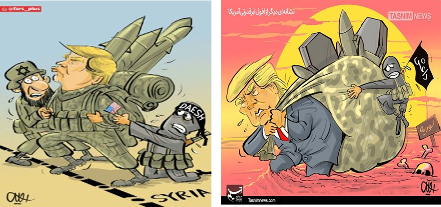 "On the right: ""Another sign of the sinking of the American superpower"" (Tasnim, December 23, 2018). On the left: the exit of U.S. forces from Syria and concern of Israel and ISIS (Telegram channel @fars_plus, December 22, 2018)"