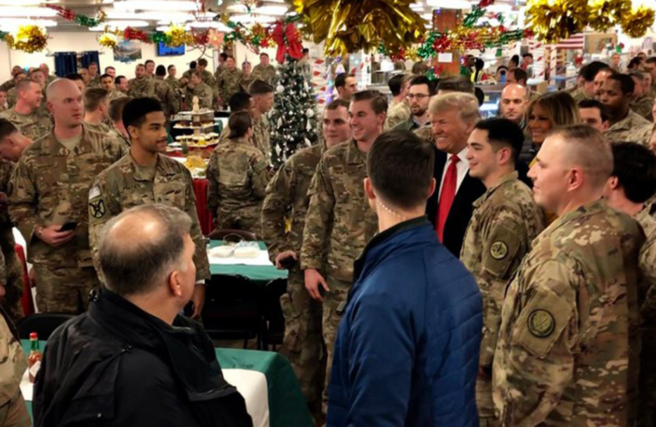 President Trump meeting with US troops during his visit to Iraq (US Department of Defense, December 26, 2018).