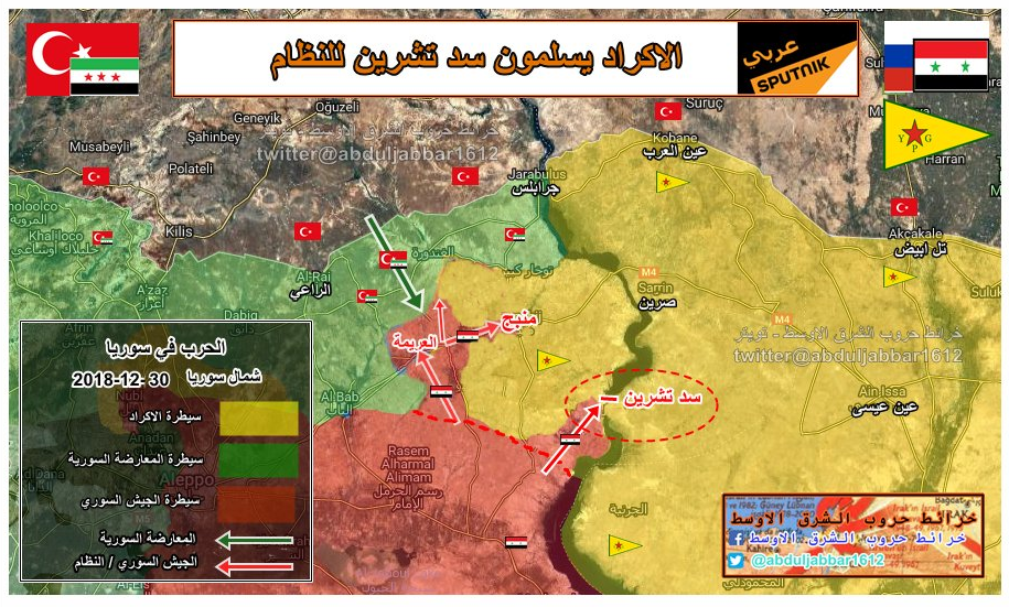 The Syrian army advances towards Manbij and the Tishreen Dam. The Turkish forces (in green) advance towards Manbij from the north (abduljabbar1612 Twitter account, December 30, 2018)