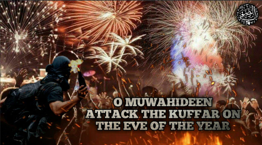 "Poster calling on the Muwahideen (""people of the oneness of Allah,"" i.e., ISIS's supporters and operatives) to carry out attacks against the ""infidels"" on New Year's Eve, against a background of fireworks and an ISIS operative throwing a Molotov cocktail at the celebrators (Telegram, December 31, 2018)."