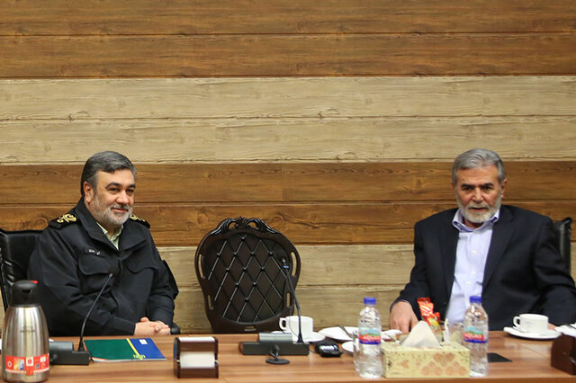 Ziyad al-Nakhalah meets with Hossein Ashtari, the Iranian chief of police, the chief commander of Iran's Law Enforcement Force (ISNA, January 1, 2019).