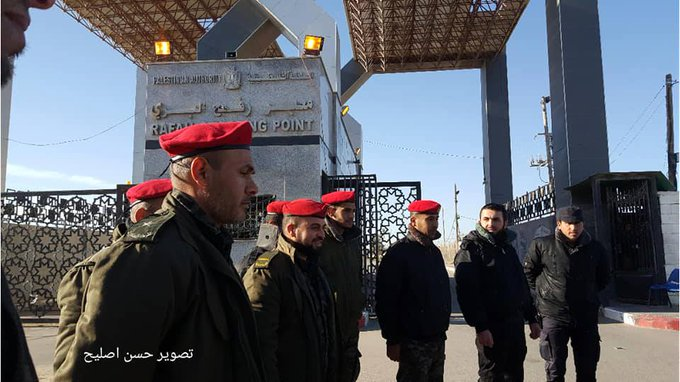Hamas security force operatives enter the Rafah Crossing after the PA personnel evacuated the site (Palinfo Twitter account, January 7, 2019).