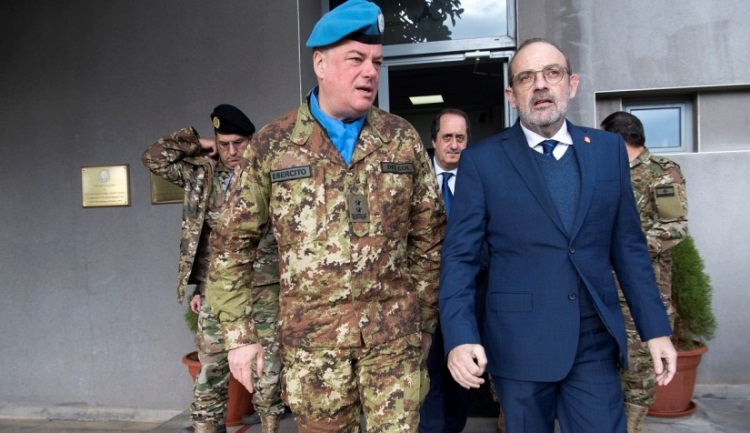 The Lebanese defense minister on a visit to UNIFIL headquarters.