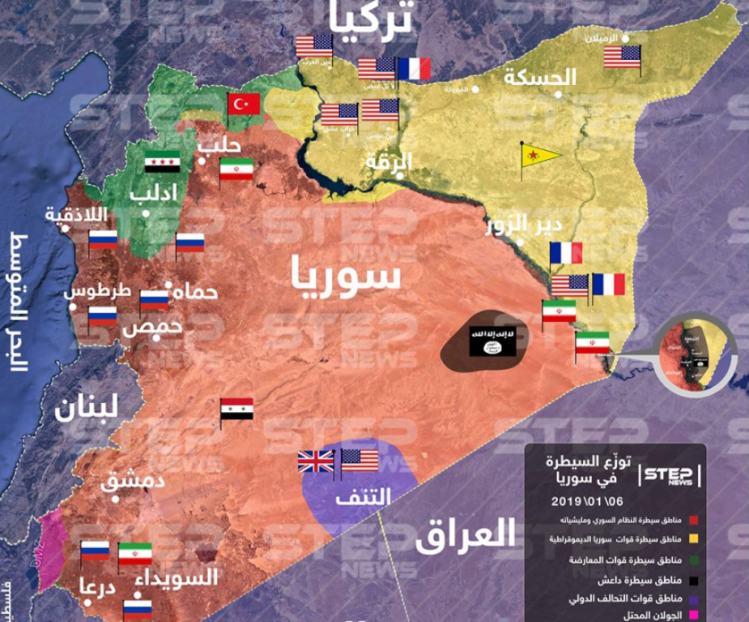 Map of the areas of control in Syria according to the Khotwa website (updated to January 6, 2019): The Syrian regime and the forces supporting it (red); the Kurdish forces (yellow); the rebel forces (green); the United States and Coalition (purple); ISIS (brown) (Khotwa, January 6, 2019).