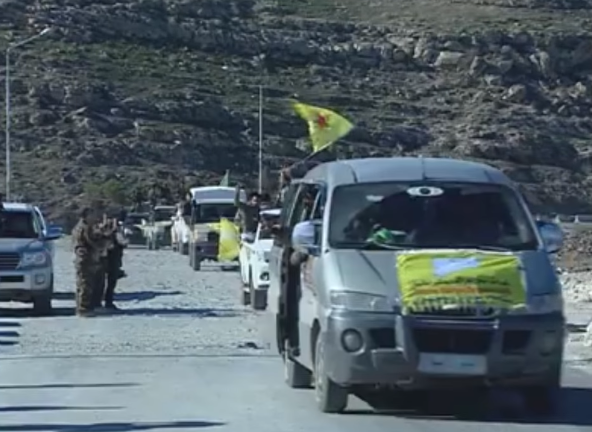 Turkish-affiliated forces on their way to the rural area of the city of Manbij (Syria TV, January 3, 2019)