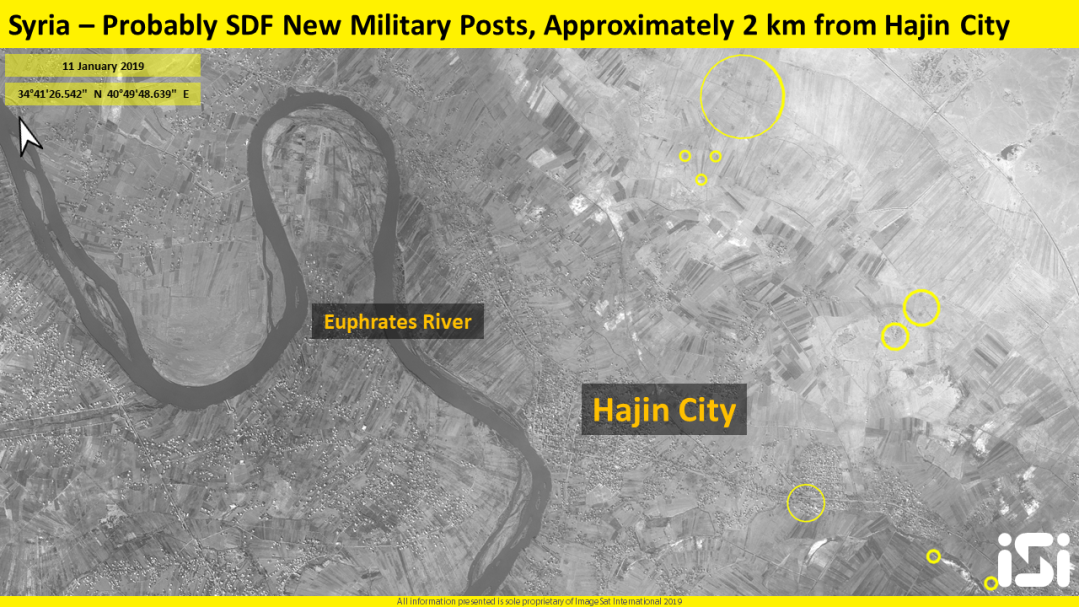 ISI has detected new SDF military posts which been built lately in Hajin City Surroundings, probably for preventing additional ISIS forces to arrive from the Syrian-Iraqi deserts.