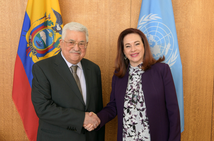 Mahmoud Abbas shaking hands in New York with the president of the UN General Assembly.