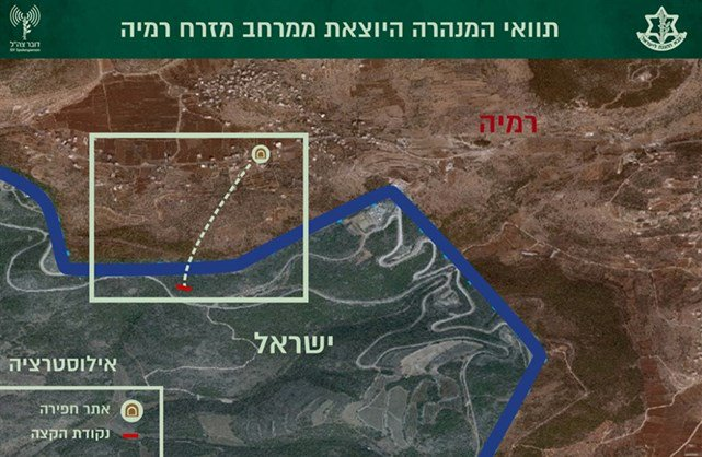 The route of the tunnel from the village of Ramyeh into Israeli territory (IDF spokesman's website, January 13, 2019).