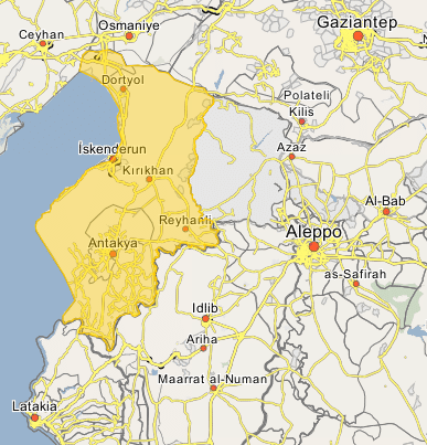 The Hatay Province in Turkey, which borders on the Idlib Province in Syria (Wikimapia)