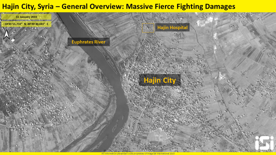 ISI has detected massive fierce fighting damages within the city of Hajin. Facilities, structures and roads are destroyed as well as most of the main junctions. There is no evidence of significant civilian traffic within Hajin City. It is probable that most of its inhabitants have left the city.