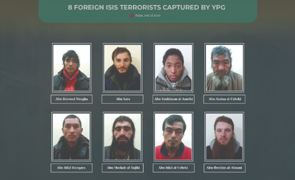 Eight ISIS operatives captured by the YPG (YPG website ypgrojava.org, January 9, 2019)