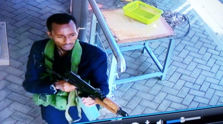 One of the Somali Al-Shabaab operatives during the attack on the hotel in Nairobi, Kenya. The photo is from the CCTV in the hotel complex (Twitter, January 15, 2019).