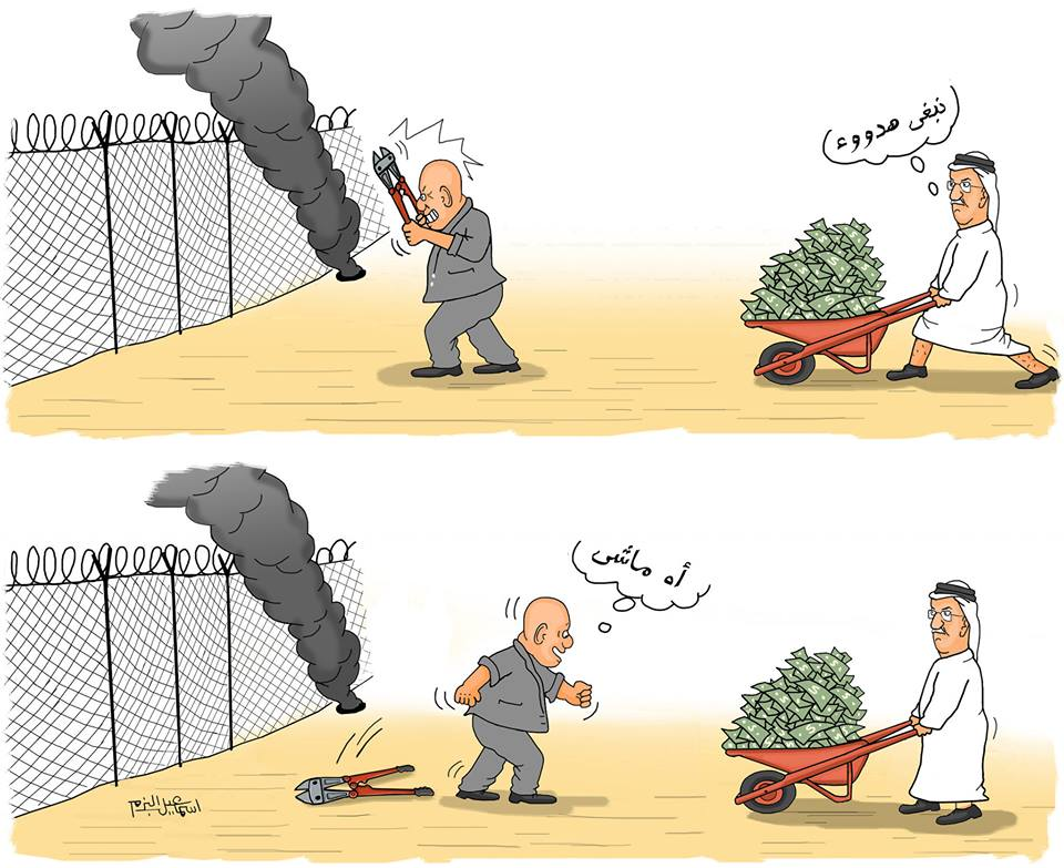 "Cartoon by Gazan cartoonist Isma'il al-Bazam claiming the money from Qatar buys quiet in the Gaza Strip. The Arabic reads, ""We want quiet,"" and ""Let it be"" (Isma'il al-Bazam's Facebook page, January 10, 2019)."