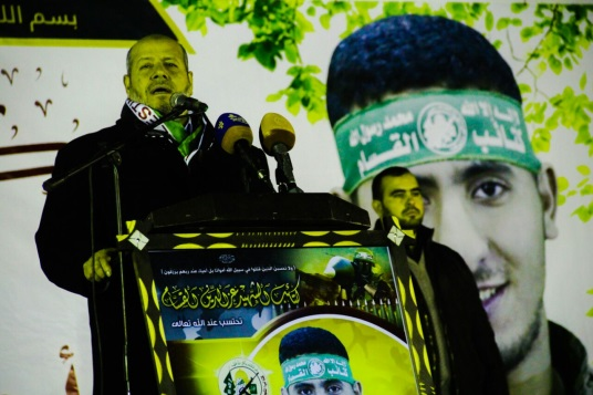 Senior Hamas figure Khalil al-Haya speaking at the event (Hamas website, January 19, 2019).