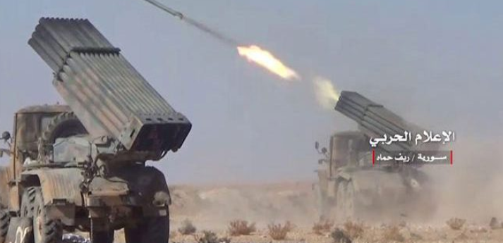 The Syrian army launching rockets in the rural area north of Hama (SANA, January 21, 2019)