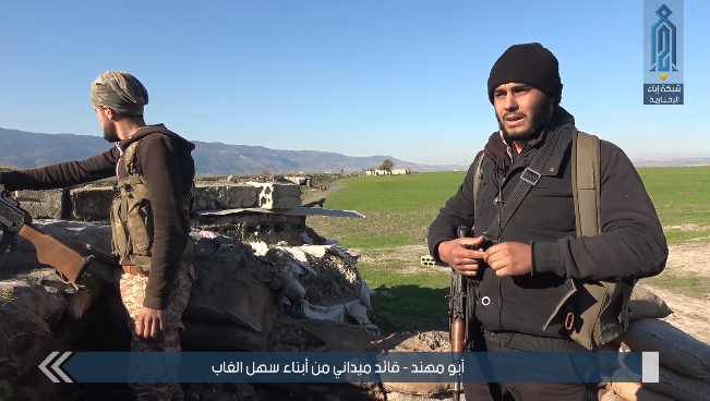 Operatives of the Headquarters for the Liberation of Al-Sham at a fighting position against the Syrian army in the Al-Ghab Plain (Ibaa video, January 19, 2019)