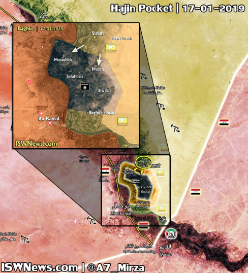 "The ""pocket"" controlled by ISIS (map updated to January 21, 2019): ISIS (gray-black); SDF forces (yellow); areas controlled by the Syrian army and the forces supporting it (red); attack routes of the Kurdish forces (white arrows) (Twitter account of the IWN@A7_Mirza website, probably affiliated with the Iranian Revolutionary Guards, January 21, 2019)"
