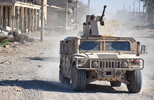 SDF bullet-proof Humvee during activity against the ISIS enclave (SDF Press, January 17, 2019).