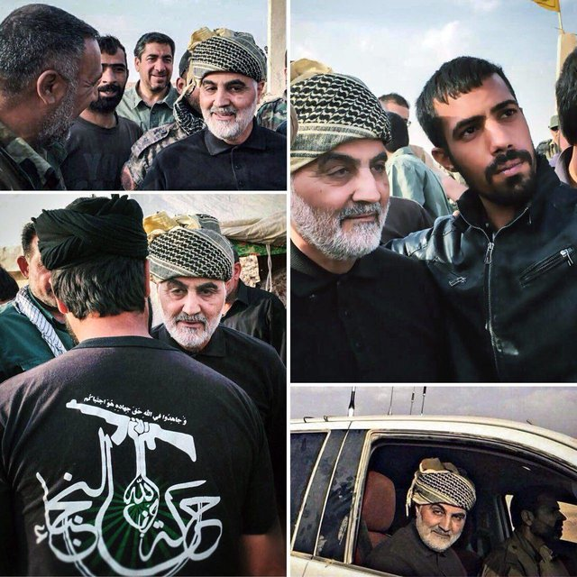 Qods Force Commander Qasem Soleimani with fighters of the Shi'ite Iraqi militia, Harakat al-Nujabaa in Albu Kamal, eastern Syria (ISNA, November 16, 2017).