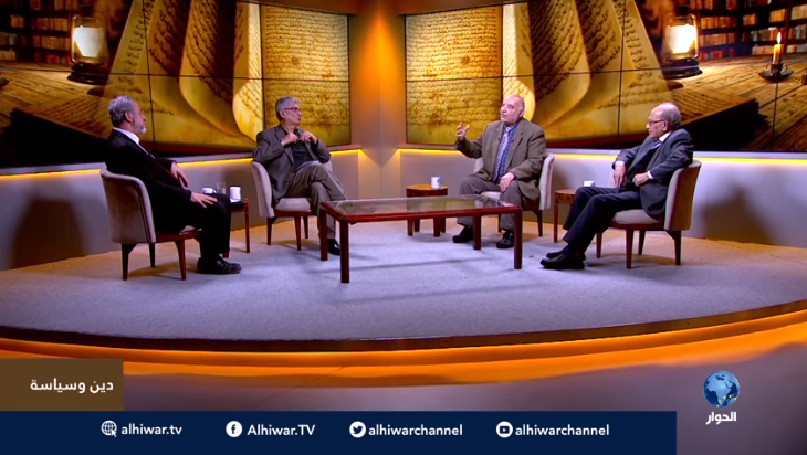 Muhammad Sawalha moderating a program in the al-Hiwar TV studio, dealing with the issue of political Islam. Only his name appears in the chyron (right) but no role or title (al-Hiwar TV on YouTube, January 15, 2019).