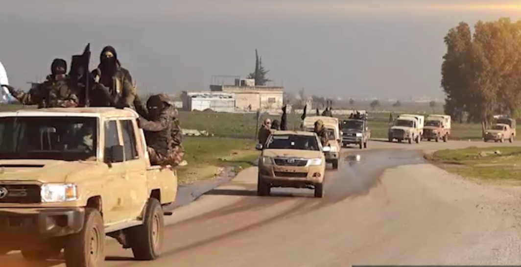 Convoy of operatives of the Guardians of Religion Organization (affiliated with Al-Qaeda) (oload.club file-sharing website, January 27, 2019)