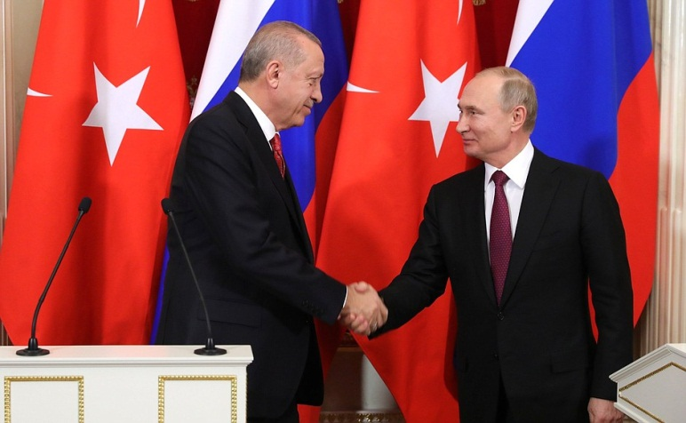 Turkish President Erdogan and Russian President Putin at the joint press conference after their meeting (Russian Presidency website, January 23, 2019)