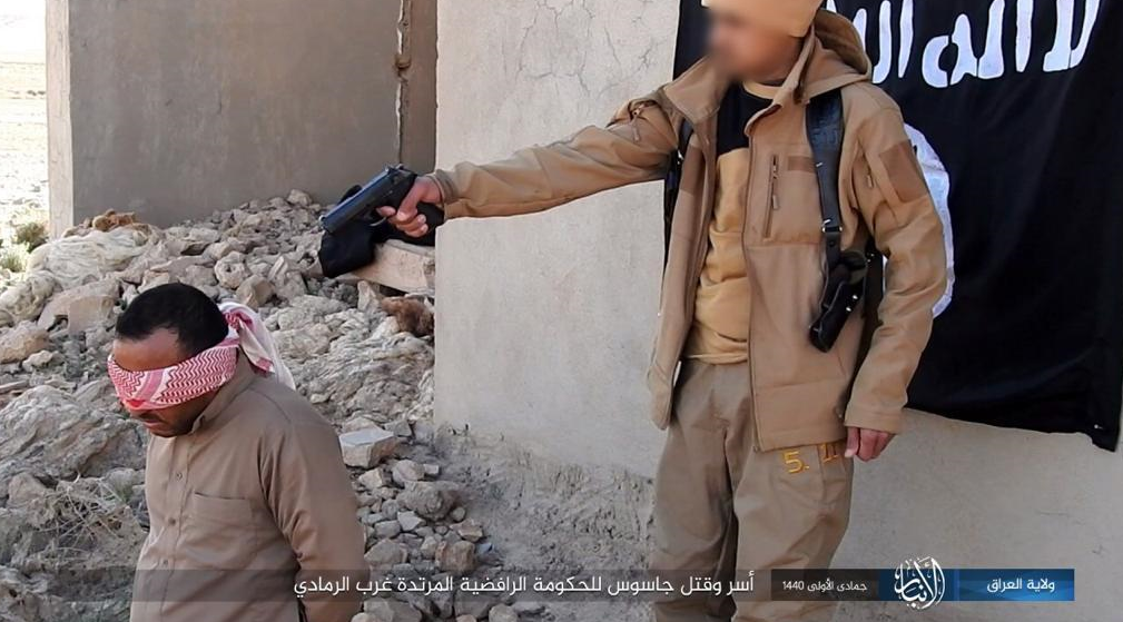 Execution of an Iraqi government agent who was taken prisoner by ISIS west of Ramadi (Iraq – Al-Anbar Province, January 28, 2019)