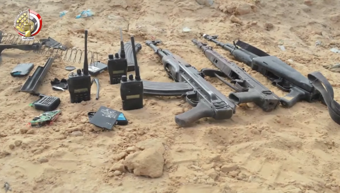 rifles, magazines and wireless communications devices seized by the Egyptian army.