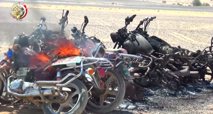 "Motorcycles belonging to ""terrorist operatives"" after the Egyptian security forces set fire to them (Egyptian Armed Forces Spokesman's Facebook page, January 22, 2019)"