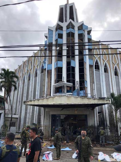 The entrance to Our Lady of Mount Carmel Cathedral after the two explosions (West Mindanao Command, January 28, 2019)