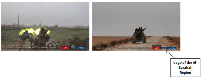 Information about the military activity of the Al-Barakah Region, distributed by ISIS's Shumukh Agency. Right: ISIS operatives en route to attack positions of the SDF forces (distributed by Shumukh, November 24, 2018). Left: Report by the Al-Barakah Region: ISIS operative firing a machine gun mounted on a motorcycle (distributed by Shumukh, November 24, 2018)