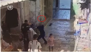 Security camera footage of the Palestinian attempting to stab a policeman in the Old City of Jerusalem.