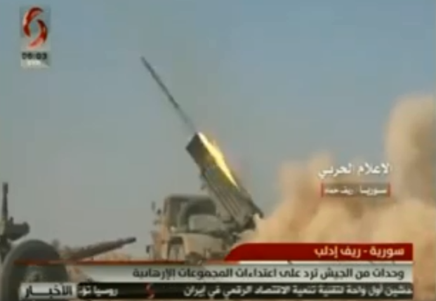 Syrian army rocket fire at the southern Idlib region (Al-Ikhbariya al-Suriya channel, February 5, 2019).