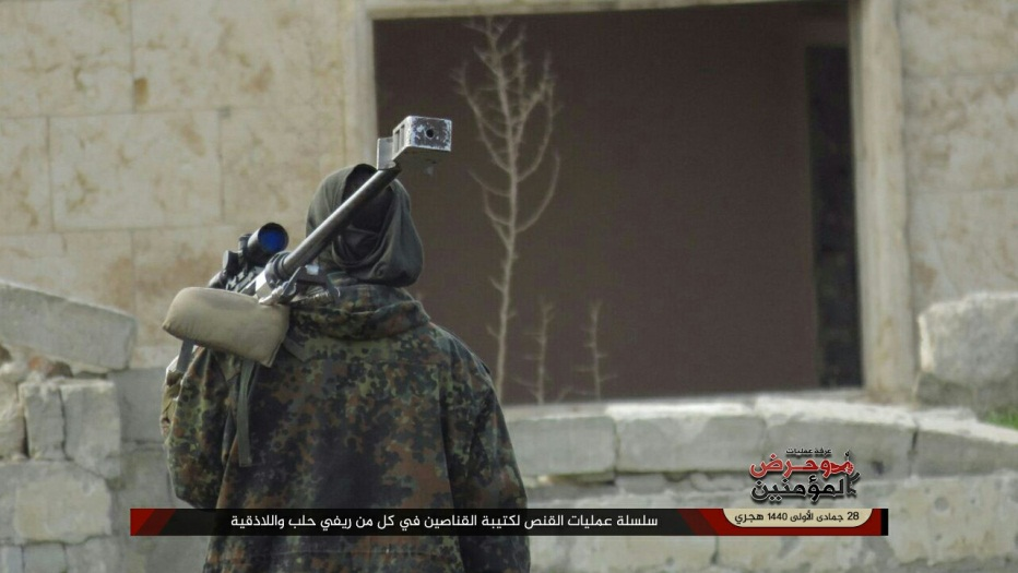 "A sniper of the ""Awaken the Believers"" operations room during operation of the snipers battalion in the Aleppo and Latakia rural areas (""Awaken the Believers"" operations room, February 3, 2019)"