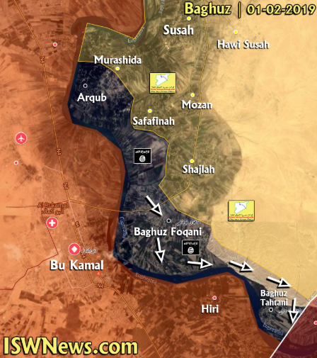 "The expansion of the ""pocket"" controlled by ISIS (map updated to February 1, 2019). ISIS (dark gray); the SDF forces (yellow); areas controlled by the Syrian army and the forces supporting it (light brown); ISIS attack and advance routes are marked with white arrows) (IWN@A7_Mirza Twitter account of the IWN news website, February 1, 2019)"