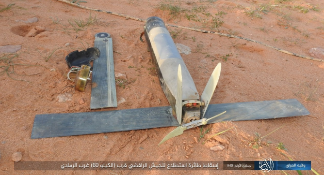 Iraqi army reconnaissance drone downed by ISIS west of Ramadi (Iraq – Al-Anbar Province, February 4, 2019)