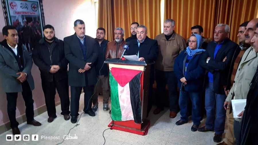 Press conference where the renewal of the mini-flotillas was announced (Palestine Post Twitter account, January 28, 2019).