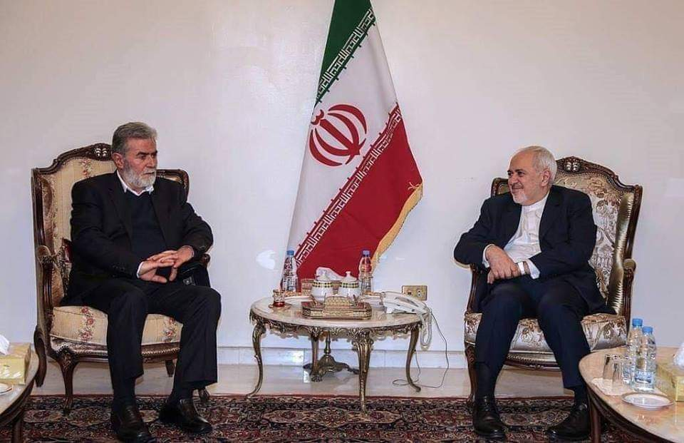 Mohammad Javad Zarif, the Iranian foreign minister, meeting in Beirut with PIJ secretary general Ziyad al-Nakhalah (Palinfo Twitter account, February 10, 2019).