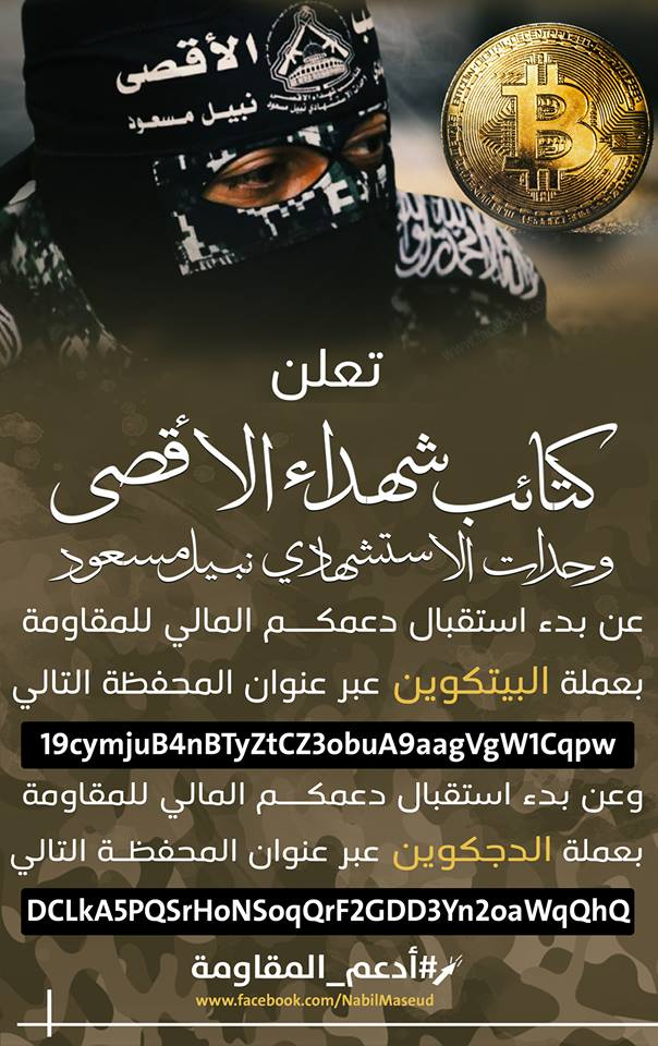 Notice calling for donations of Bitcoins and Dogecoins (al-Aqsa Martyrs' Brigade – Nabil Masoud Units Facebook page, February 2, 2019).