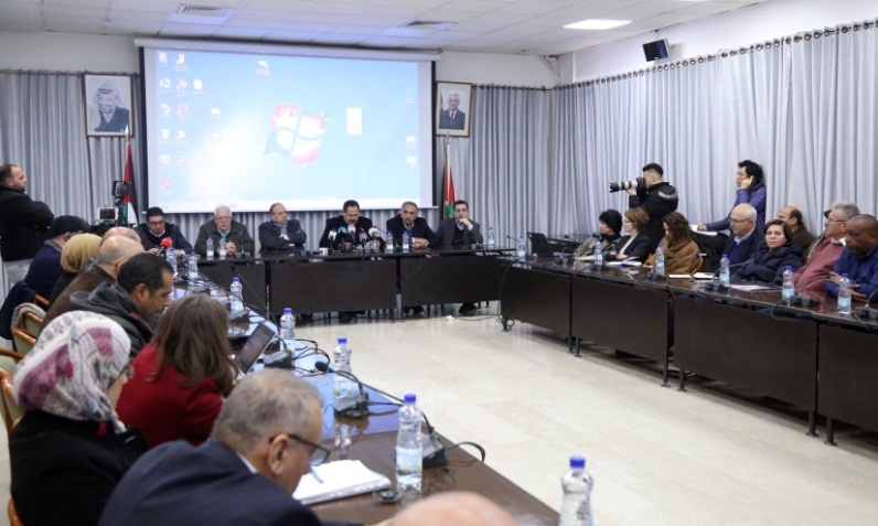 The meeting in Ramallah headed by Palestinian minister of education Sabri Sidam (PA ministry of education Facebook page, January 29, 2019).