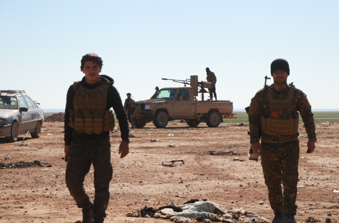 "SDF fighters operating against the ISIS ""pocket"" along the Euphrates (SDF Press, February 10, 2019)"