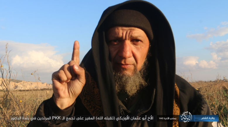 ISIS operative codenamed Abu Uthman the Uzbek, who attacked SDF forces in Al-Baghouz (Fawqani) (Telegram, February 12, 2019)