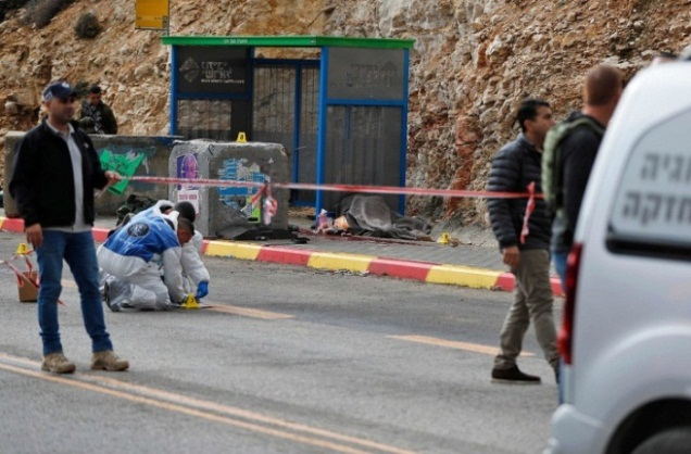 The scene of the shooting attack at the entrance to Givat Asaf (Palinfo Twitter account, December 13, 2018).