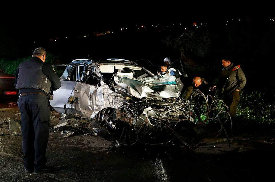 The vehicle used by the terrorist in the vehicular attack in northern Samaria (Palinfo Twitter account, March 16, 2018).