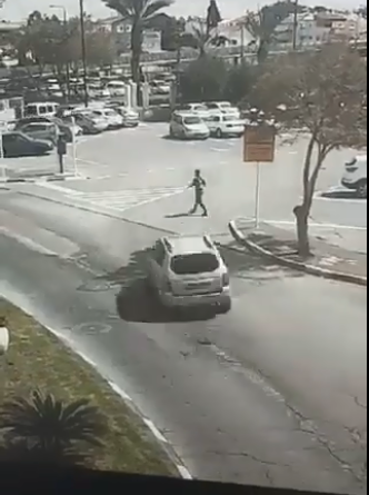 Scene of the vehicular attack in Acre, seconds before the attack on the pedestrian  (QudsN Facebook page, March 4, 2018).