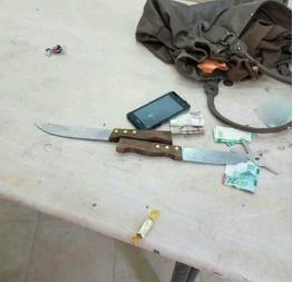 The two knives found in the possession of the Palestinian woman in 2016 (QudsN Facebook page, November 1, 2016).