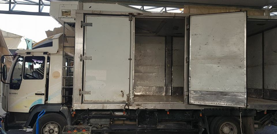 The truck seized at the Reihan Crossing in whose roof a powerful explosive device was hidden. It was suspected that the device was going to be used in an attack during Israel's Independence Day festivities (Israeli ministry of defense Facebook page, April 18, 2018).