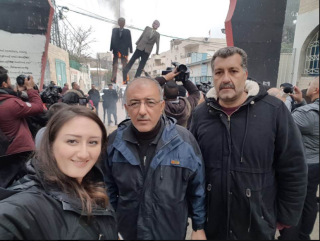 Muhammad al-Laham (center), a member of Fatah's Revolutionary Council, photographed with the effigies in the background (Muhammad al-Laham's Facebook page, January 27, 2019).