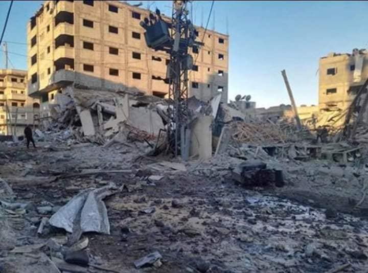 The ruins of the al-Aqsa TV building (Shehab Facebook page, November 13, 2018).
