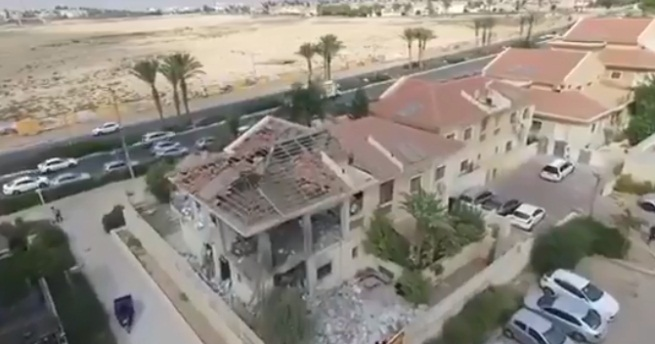 The house in Beersheba hit by a rocket (Palinfo Twitter account, October 19, 2018).